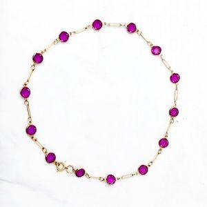 Vintage Gold and Amethyst Crystal Station Necklace